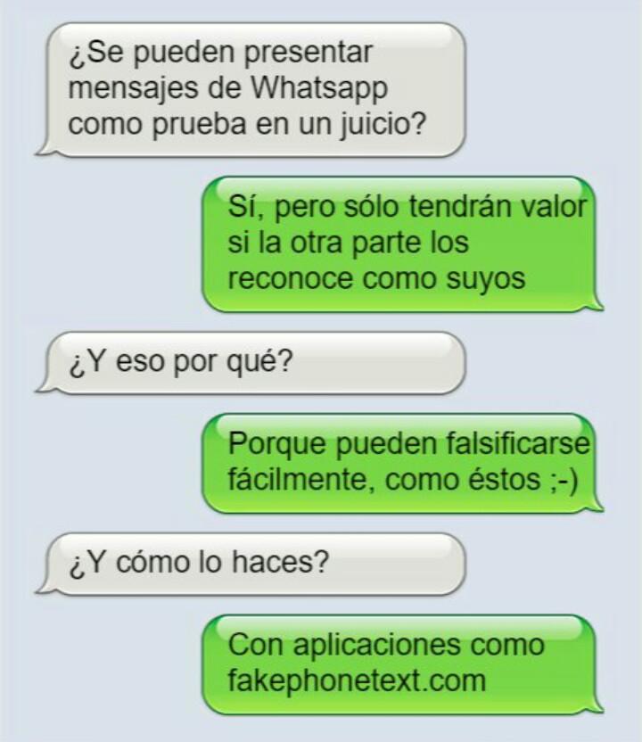 Pruebas de WhatsApp y Facebook conversaciones o mensajes y pantallazos de Internet como pruebas de juicio