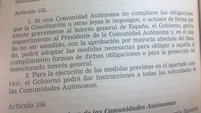 Artículo 155 Constitución Española significado y aplicación Cataluña